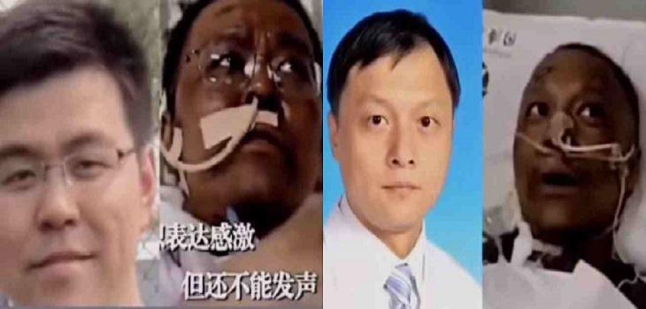 Médicos chinos, piel oscura, pigmentación
