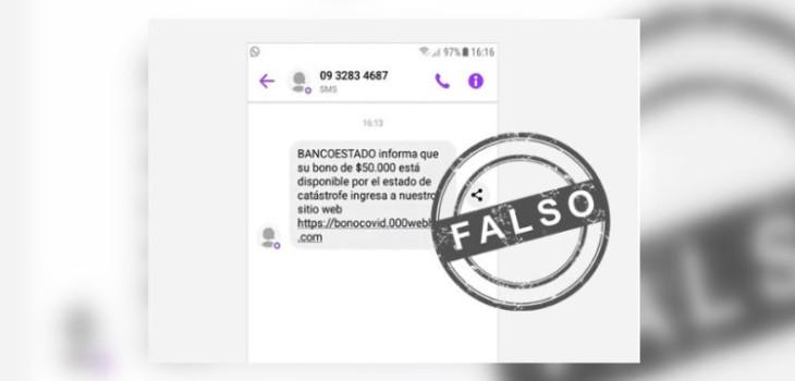mensaje falso de bancoestado