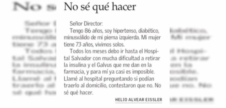 Carta al director de adulto mayor a El Mercurio