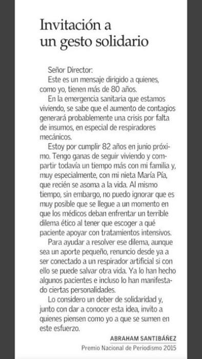 carta el mercurio abraham santibañez