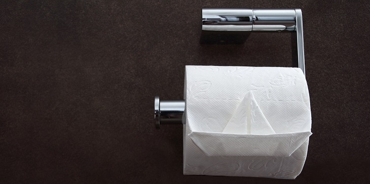 Papel higiénico, basurero, inodoro