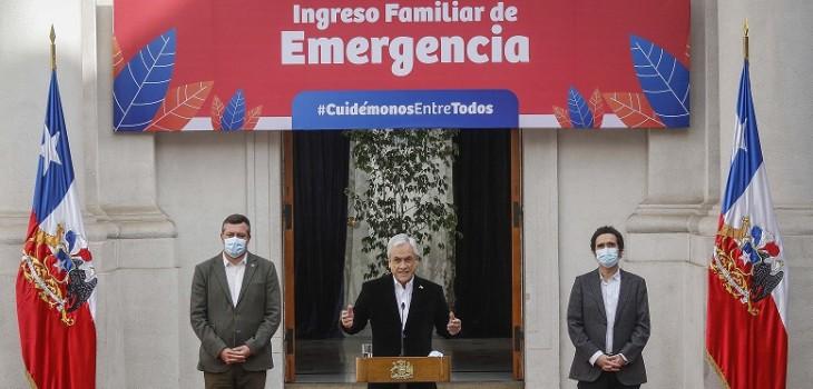 Piñera anuncia adelanto de entrega de Ingreso Familiar de Emergencia