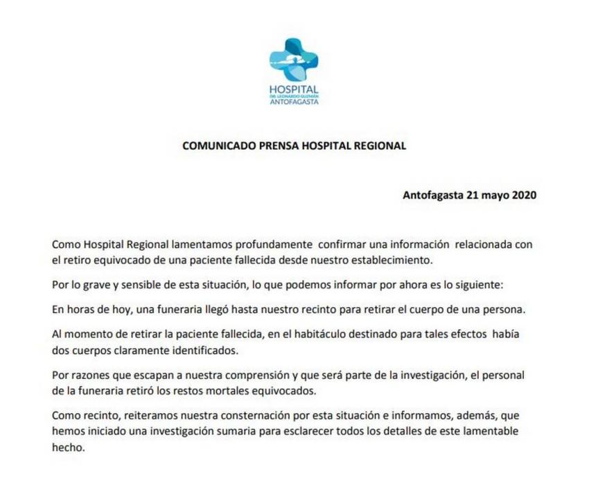 Confusión entrega de cuerpos en Antofagasta
