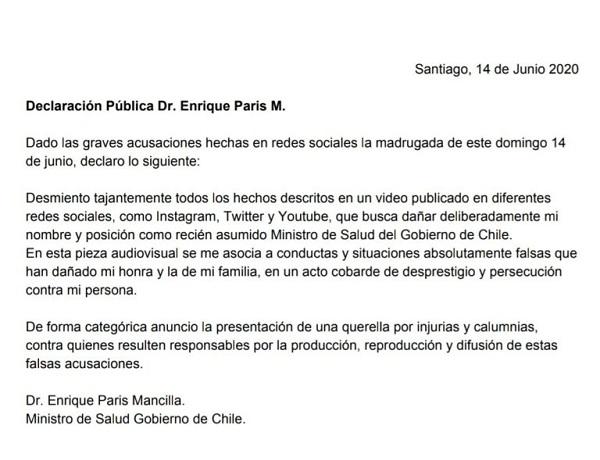 Comunicado Enrique Paris