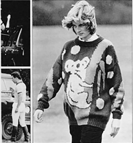 Diana de Gales usando suéter con koala
