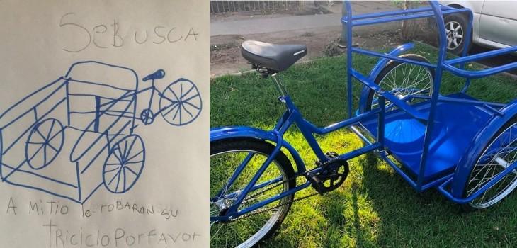 Dibujo de niño de Puente Alto, robo triciclo