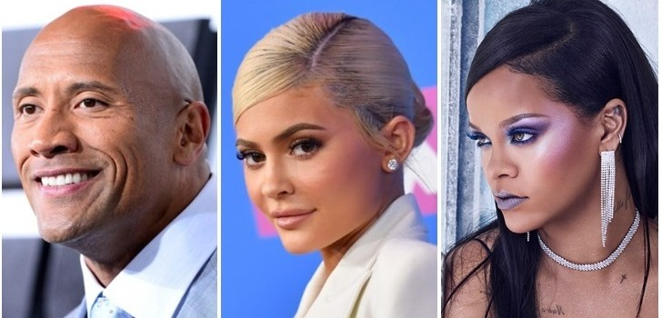 Dwayne Johson (1) AFP   Kylie Jenner (2) AFP   Rihanna (3) Instagram