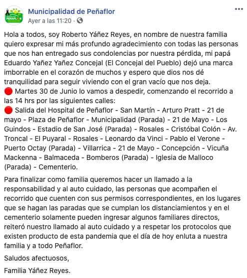 Municipalidad de Peñaflor realizó masivo homenaje para concejal que murió por COVID-19