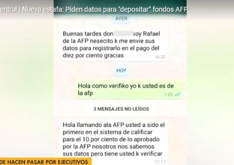 Alertan de nueva estafa vía Whatsapp: solicitan información para depositar 10% de la AFP