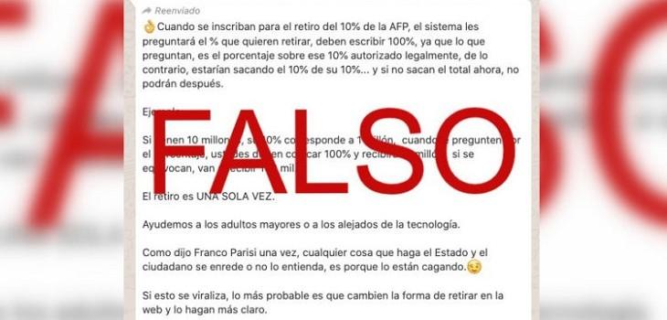 mensaje informacion falsa retiro 10%