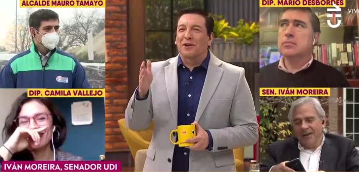 El hilarante chascarro de Moreira en CHV: se escuchó especial ringtone que le tiene a senador Coloma