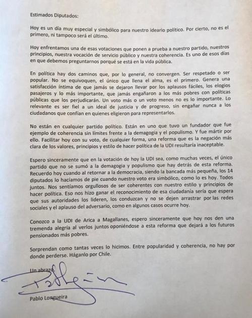 Carta Pablo Longueira