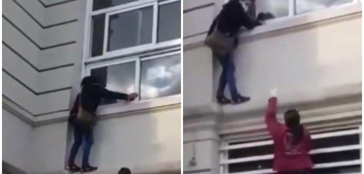 Mujer trepó por hospital para ver a familiar con COVID