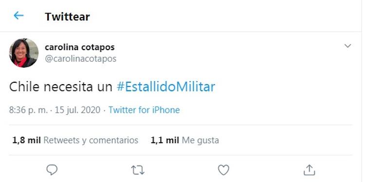 """Oficiarán a Contraloría por tuiteo de concejala UDI de Las Condes que llamó a un """"Estallido Militar"""""""