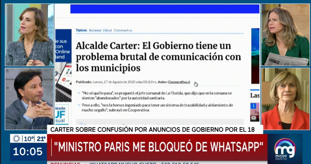 alcalde Carter reveló que tuvo duro cruce con el ministro Paris