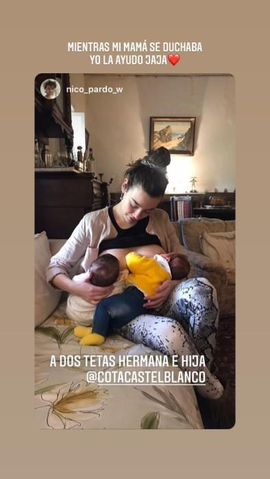 """""""Yo la ayudo"""": Catalina Castelblanco compartió adorable postal amamantando a su hija y hermana"""