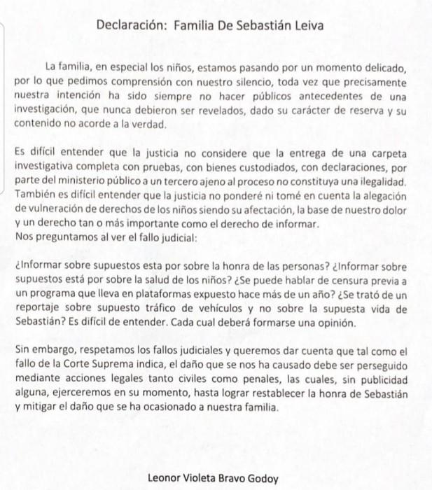 Declaración de familia de Sebastián Leiva