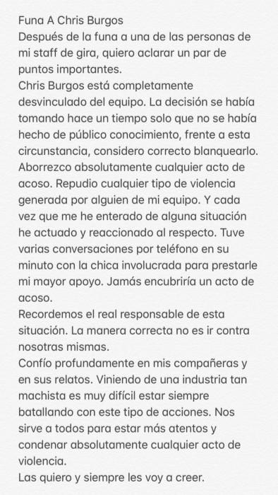 """Cami aclaró que desvinculó a integrante de su staff tras viralizarse """"funa"""" por acoso"""