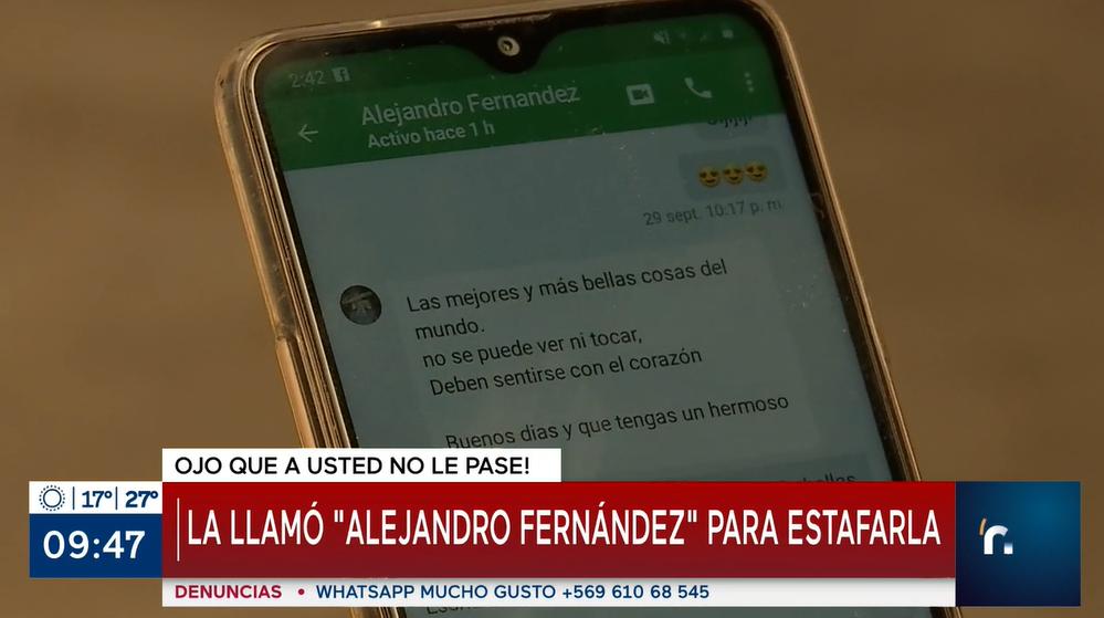 Chilena fue engañada por falso 'Alejandro Fernández' que hasta la contactó por videollamada