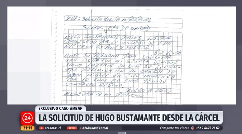 Hugo Bustamante pidió ver a su esposa