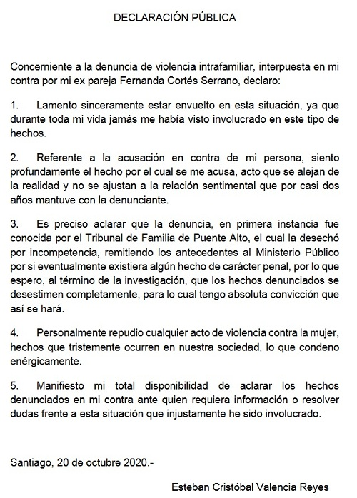 Declaración Pública | Esteban Valencia