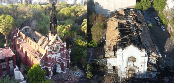 El día después: imágenes aéreas muestran el daño sufrido por las iglesias quemadas en la capital