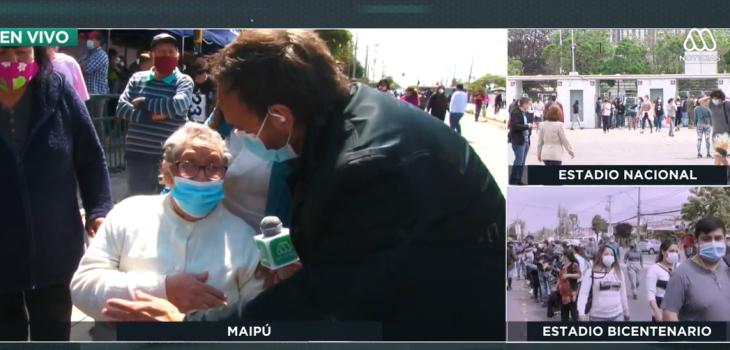 Mujer de 80 años sufrió fea caída justo antes de votar en Maipú: pese a los golpes, sufragó igual