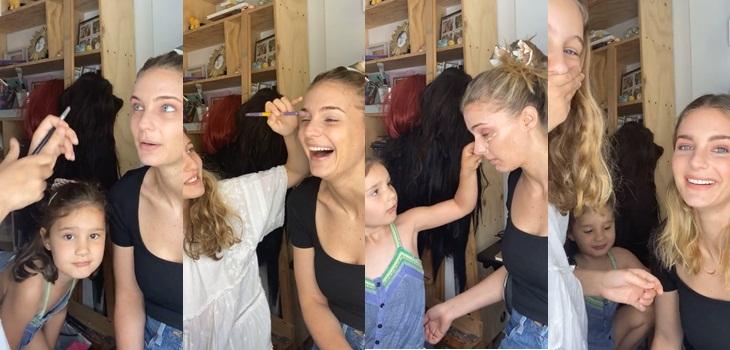 Josefina Montané realizó clase de maquillaje con sus hijas