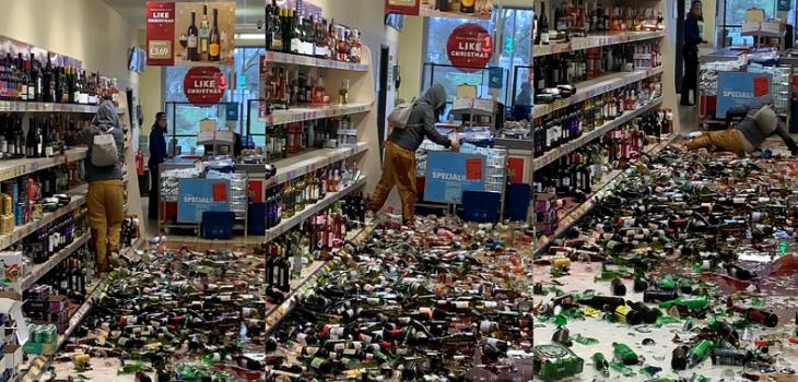 mujer rompe 500 botellas en un supermercado de Inglaterra