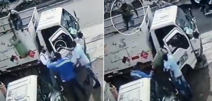 Trabajador frustró asalto lanzando un balón de gas justo en la cabeza del ladrón: momento es viral