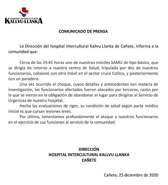Ambulancia fue atacada a piedrazos tras chocar: Hospital de Cañete repudia agresión a paramédicos