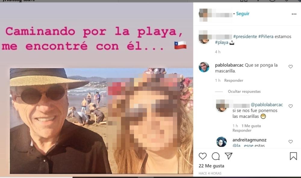 Piñera es fotografiado paseando por playa de Cachagua sin mascarilla