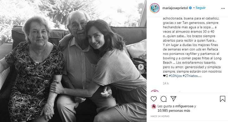 María José Prieto y sus abuelos