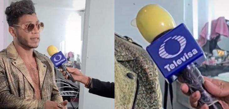 ¿Siempre protegido? Reportero de Televisa cubrió su micrófono con un condón como medida sanitaria