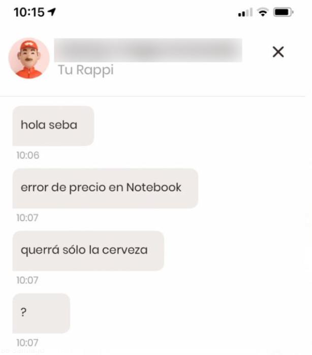 Mensajes de Rappi