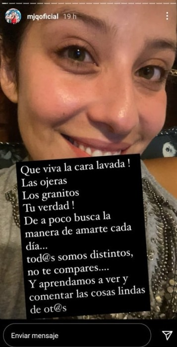 María José Quintanilla se muestra sin maquillaje