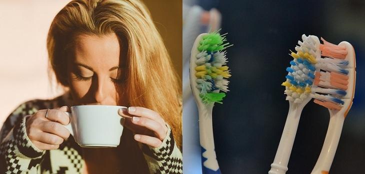 beber cafe cepillo de dientes