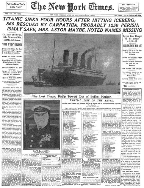 Portada de The New York Times con la noticia del hundimiento del Titanic   Biblioteca del Congreso de Estados Unidos