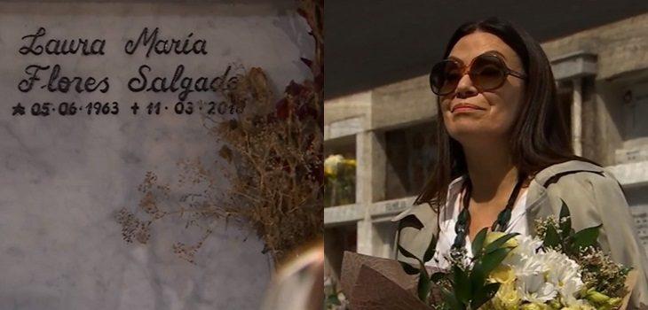 visita de rocio a tumba de Laura en Verdades Ocultas
