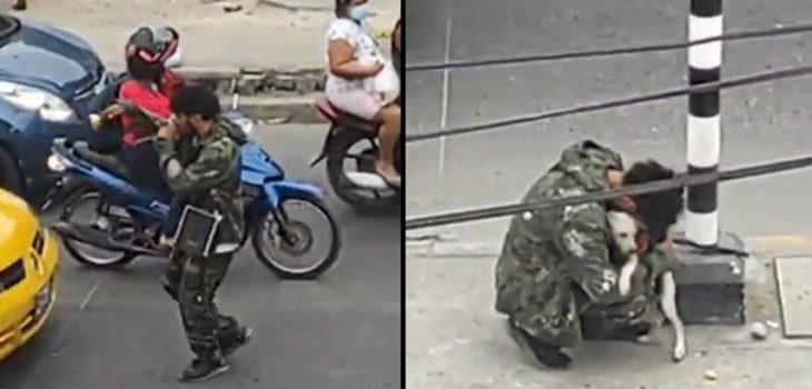 Artista callejero y su perro