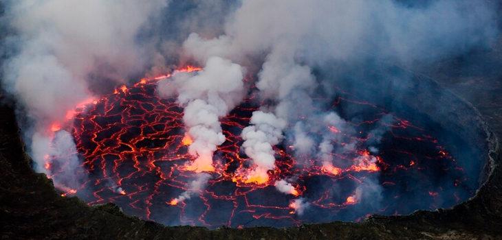 erupción de volcán en RDCongo