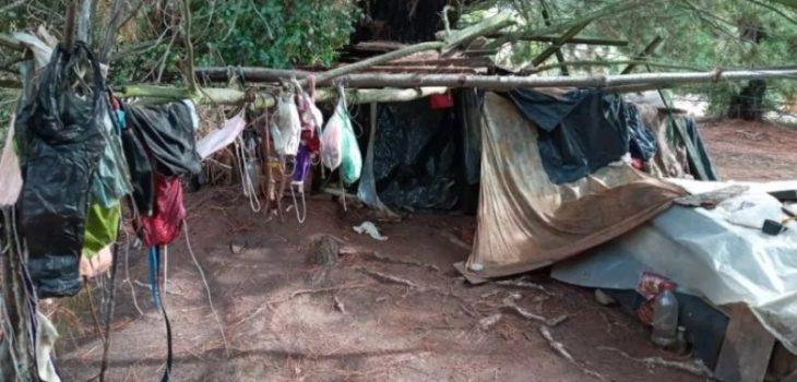 hombre vive bajo un árbol en Quillón