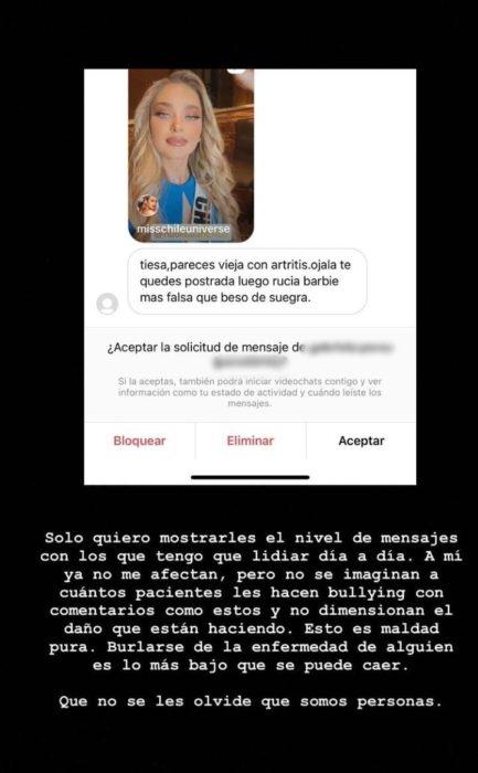 Daniela Nicolás respondió a usuaria que deseo que quedara postrada