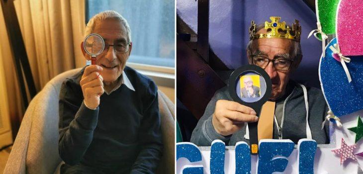 Adulto mayor celebra su cumpleaños con temática de El Agente topo