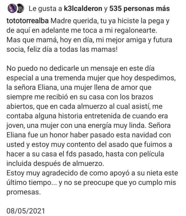 Mensaje pololo Kel Calderón