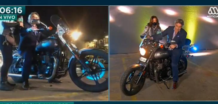 José Luis Repenning vivió chascarro en vivo tras aprender a andar en moto con Priscilla Vargas