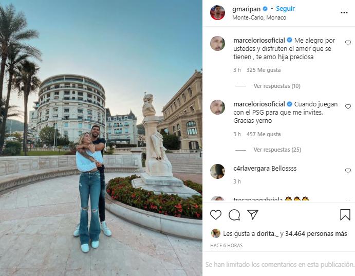 Marcelo Ríos comentó la foto de su hija junto a Guillermo Maripán.