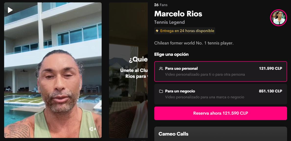 Marcelo Ríos está en la página Cameo.